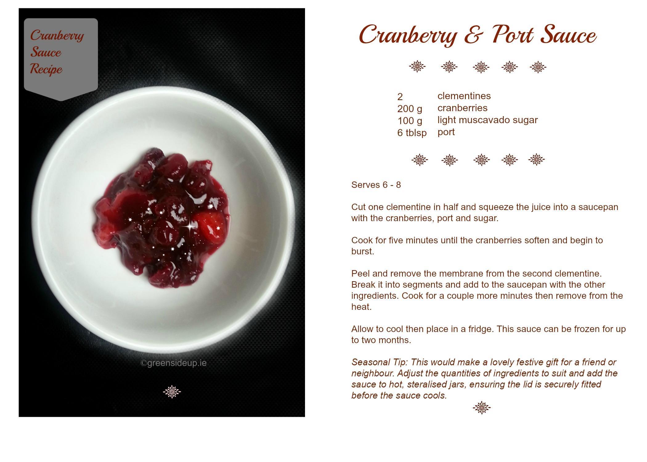 Cranberry Sauce Recipe Card