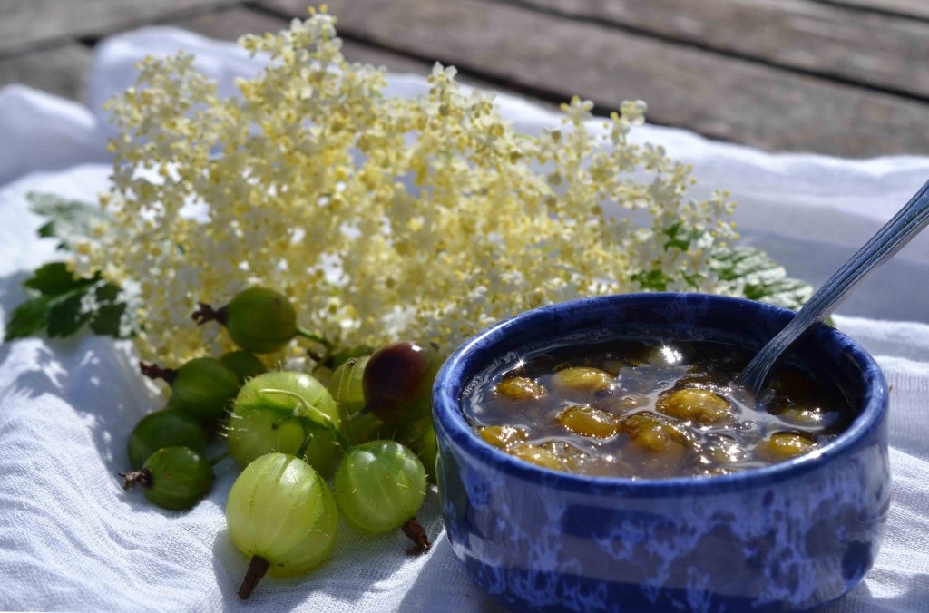 Gooseberry, Jostaberry and Elderflower Jam Recipe