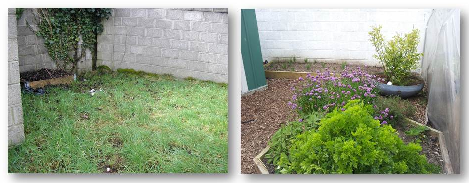 Goresbridge - top corner - before & after