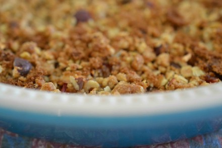 Plum Crumble in Pie Dish