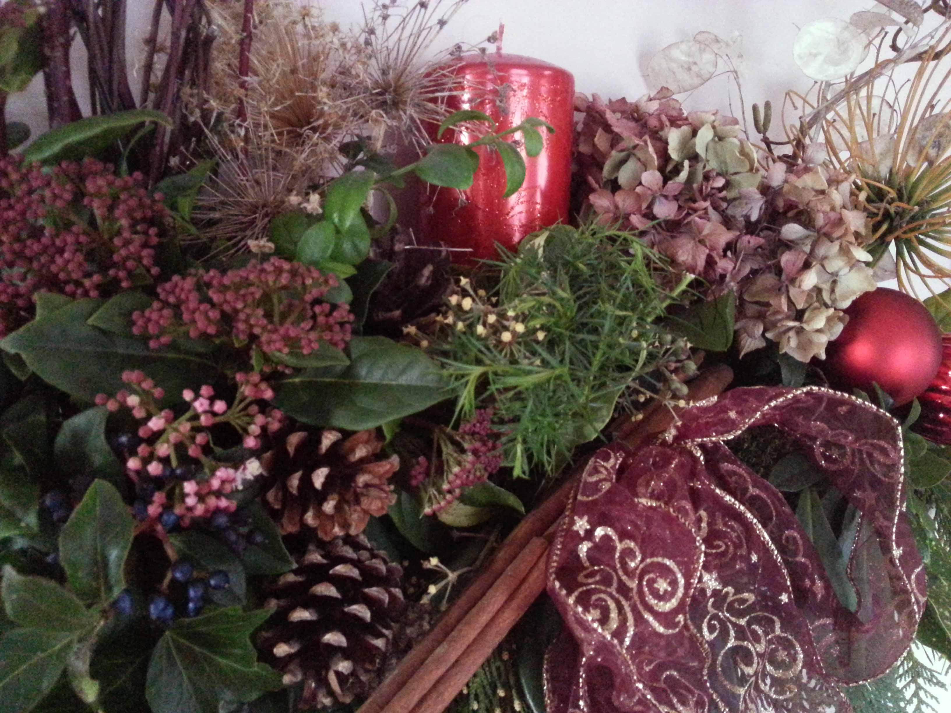 Vibernum & Dried Hydrangeas, Allium Seed Heads & Pine Cones