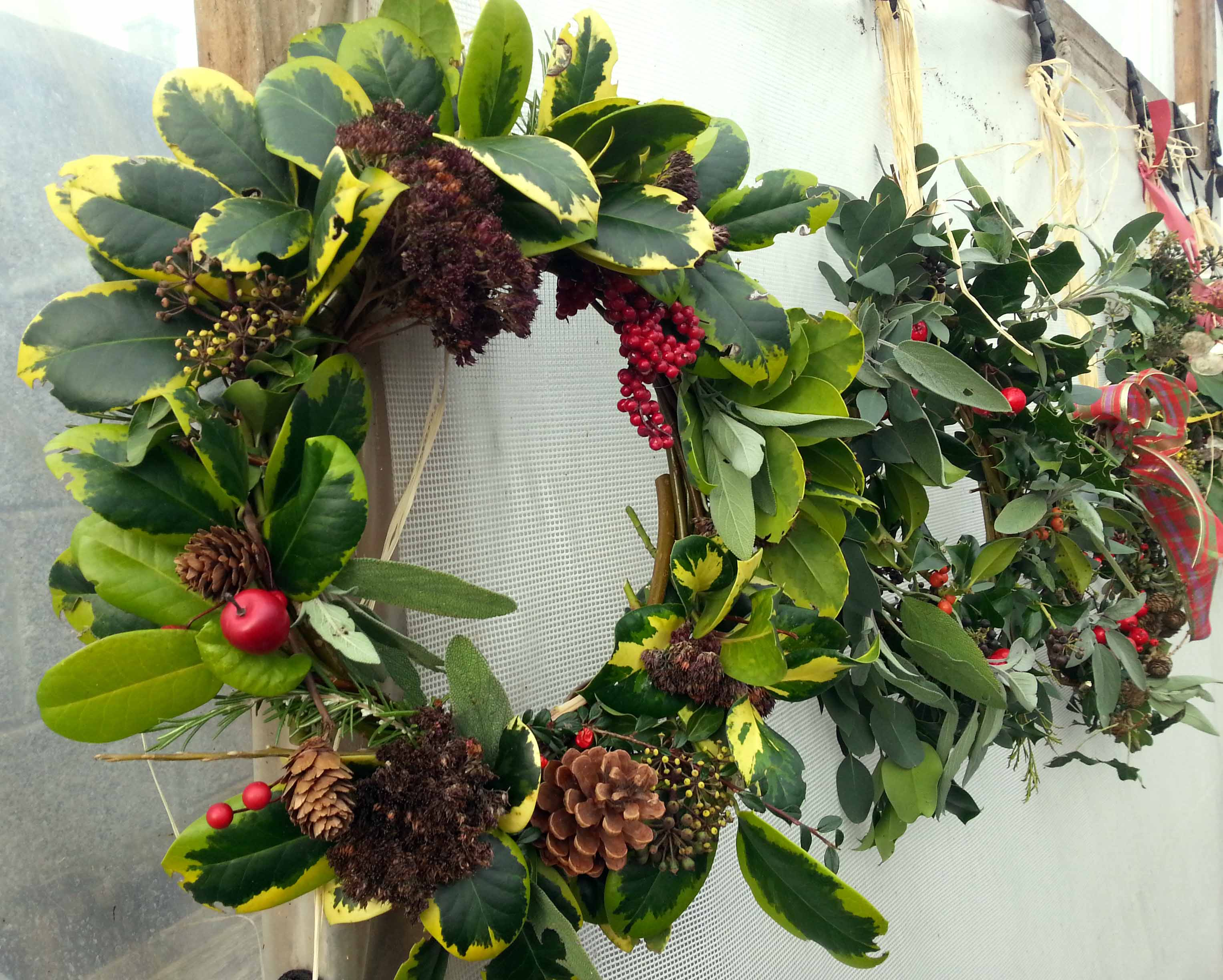 How to make natural door wreathsgreenside up for How to make christmas door wreaths